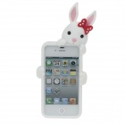 Cute Cartoon Rabbit Style Protective Silicone Back Case for Iphone 4 / 4S - White