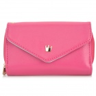 Stylish PU Leather Cellphone Handbag - Deep Pink