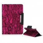 Protective PU Leather Case Cover Stand w/ Auto-Sleep / Lace for Ipad MINI - Deep Pink + Black