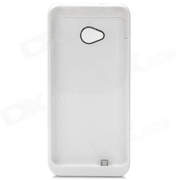 3200mAh Backup Battery Case w/ Holder for HTC One / M7 / 801E - White 3200mah backup battery case w holder for htc one m7 801e black