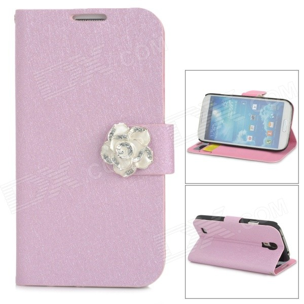 Protective PU Leather + Plastic Case w/ Holder / Card Slots for Samsung i9500 / i9508 / i9502 - Pink cm001 3d skeleton pattern protective plastic back case for samsung galaxy s4