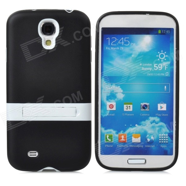 купить Protective TPU Soft Back Case Stand for Samsung Galaxy S4 i9500 - Black + White недорого