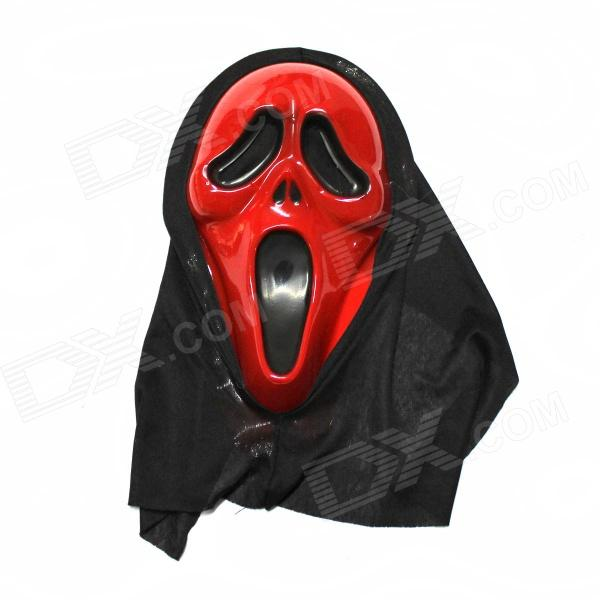 Halloween Red Scream Distorted Mask - Red + Black