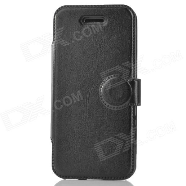 Protective Flip-open PU Leather Holder Case for Iphone 5C - Black protective pu leather flip open case for iphone 4 4s black