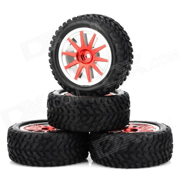 HD-W250-7004 Replacement Rubber + Plastic Wheel for 1:16 Off-road Vehicle - Black (4 PCS) 1 10 rubber on road racing car model replacement tire black 4 pcs