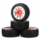 HD-W250-7004 Replacement Rubber + Plastic Wheel for 1:16 Off-road Vehicle - Black (4 PCS)
