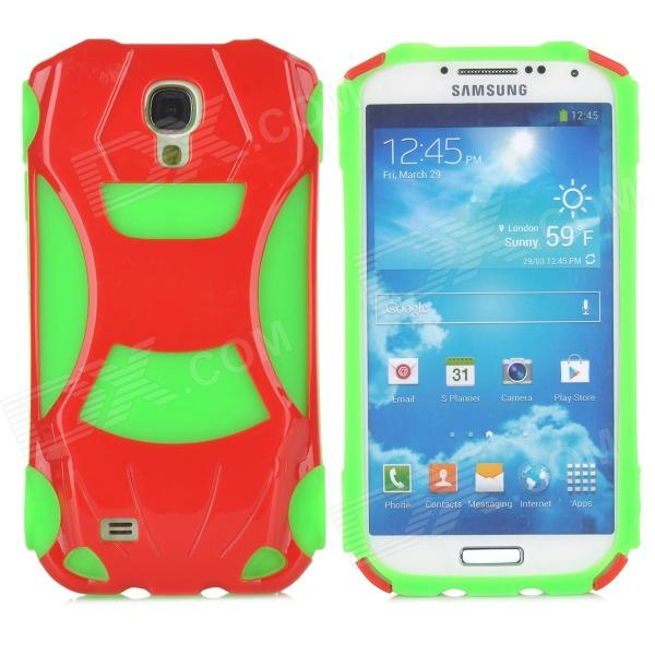 3D Racing Car Style Protective Silicone + PC Back Case for Samsung Galaxy S4 i9500 - Green + Red