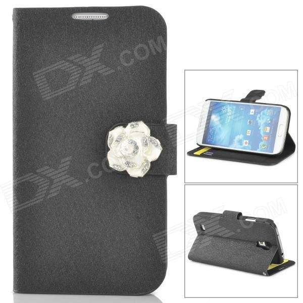 Protective PU Leather + Plastic Case w/ Holder / Card Slot for Samsung i9500 / i9508 / i9502 - Black cm001 3d skeleton pattern protective plastic back case for samsung galaxy s4