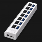 High Speed 5.0Gbps USB 3.0 7-Port Hub w/ Individual Switches - White