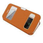 Protective PU Leather Case Cover w/ Dual-Display Window for Iphone 5C - Orange