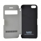 LLMM Protective PU Leather Case Cover w/ Stand & Unlocking for Iphone 5 - White