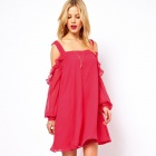 LC2904 Mellifluous Cut Out Shoulder Dress with Ruffles for Women - Deep Pink (Free Size)