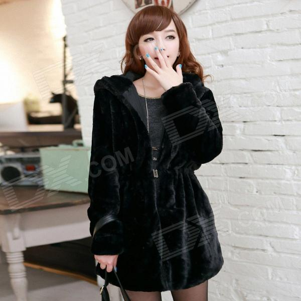 Both Sides Women's Simulation Fur Jacket - Black (Size-L)