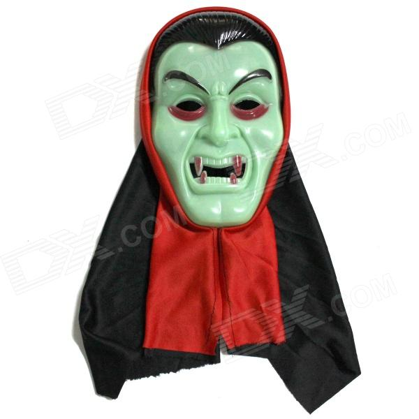 Halloween Glow-in-the-Dark Vampire Mask + Black Red Double-Sided Cloak Set