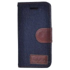 Protective Denim Flip-open Case for Iphone 5C - Black Blue + Brown