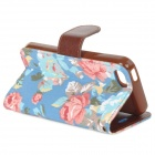 Flower Pattern Protective PU Leather Case Cover Stand w/ Card Slot for Iphone 5C - Multicolored