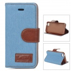 Protective Denim + PU Leather Case Cover Stand for Iphone 5C - Sky Blue + Brown