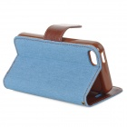 Protective Denim + PU Leather Case Capa Suporte para iPhone 5C - Blue Sky + Brown