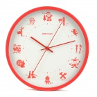 GeekCook GK1313049 Festival Style Metal Wall Clock - Red + White (1 x AA)