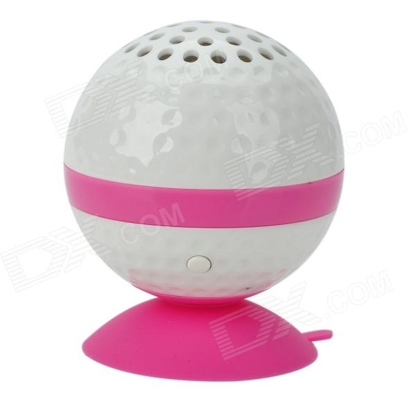 KHF301 Mini Golf Ball Shape Bluetooth V3.0 Music Speaker - Deep Pink + White golf ball sample display case