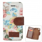 Flower Pattern Protective PU Leather Case Cover Stand for Iphone 5C - Multicolored