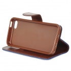 Protective Denim + PU Leather Case Cover Stand for Iphone 5C - Deep Blue + Brown