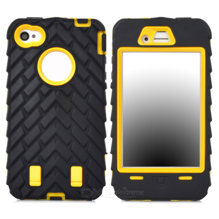 Desmontable silicona protectora + PC para Iphone 4 / 4S - Negro + Amarillo