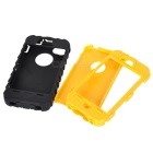Detachable Protective Silicone + PC Back Case for Iphone 4 / 4S - Black + Yellow