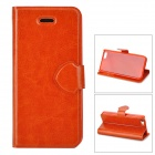 Protective PU Leather + Plastic Case Cover Stand for Iphone 5C - Brown