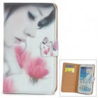 Pretty Girl Pattern Protective PU Leather Case for Samsung N7100 - White + Black + Pink