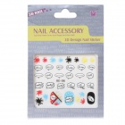 OC-06 3D English Word Patterns Decorative DIY Nail Art Sticker - Multicolored