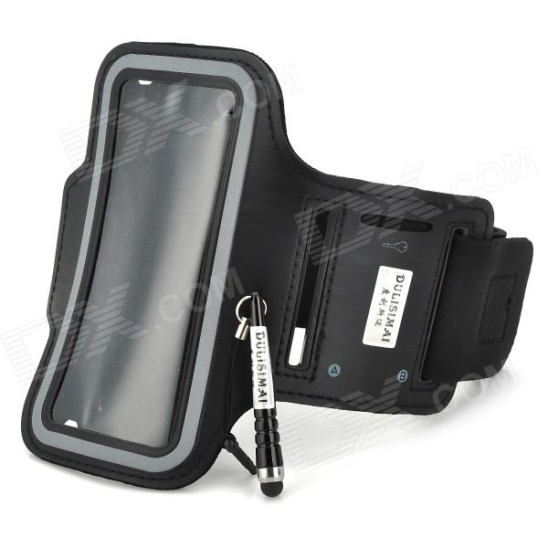 Convenient Sporty Water Resistant Neoprene Arm Bag + Stylus for Iphone 5C - Black