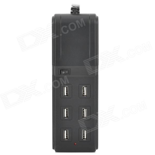 SPEEDY SPD-USB603 Compact 4.5A 6 Female USB Output US Plug Charging Socket for Iphone + More - Black