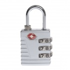 TSA-523 Aluminum Alloy 3-Digital Combination TSA Lock - Silver