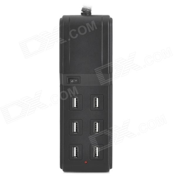 SPEEDY SPD-USB603 Compact 4.5A 6 Female USB Output UK Plug Charging Socket for Iphone + More - Black