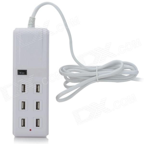 SPEEDY SPD-USB603 Compact 4.5A 6 Female USB Output US Plug Charging Socket for Iphone + More - White 6 usb port ac power charger adapter w us plug for iphone ipad ipod samsung tablet pc white