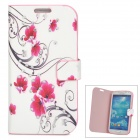 Flower Pattern Protective PU Leather Case Cover w/ Rhinestone for Samsung Galaxy S4 i9500 - White