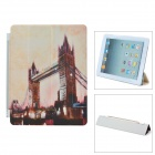Night Scene Bridge Pattern Folding Protective PU Leather Cover Stand for iPhone 2 / 3 - Multicolored