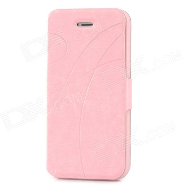 Protective Flip-open PU Leather Case for Iphone 5 - Pink protective flip open pu leather case for iphone 4 4s pink