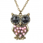 Owl Style Pearl Long Necklace for Women - Bronze