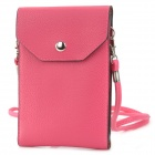Multifunction PU Leather Case Satchel Bag for Iphone 4 / 4S / 5 / Samsung i9500 - Deep Pink