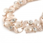 Graceful Leaf Style Pearl Crystal Necklace - Light Gold