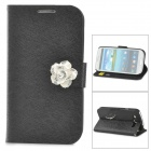 Protective PU Leather Case w/ Holder / Card Slots for Samsung Galaxy S3 i9300 - Black