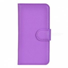 Lichee Pattern Protective PU Leather Case Cover Stand w/ Card Slots for Iphone 5C - Purple
