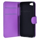 Litsi Pattern Suojaava PU Leather Case Cover Jalusta w / korttipaikat Iphone 5C - Purple
