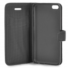 Lichee Pattern Protective PU Leather Case for Iphone 5C - Black