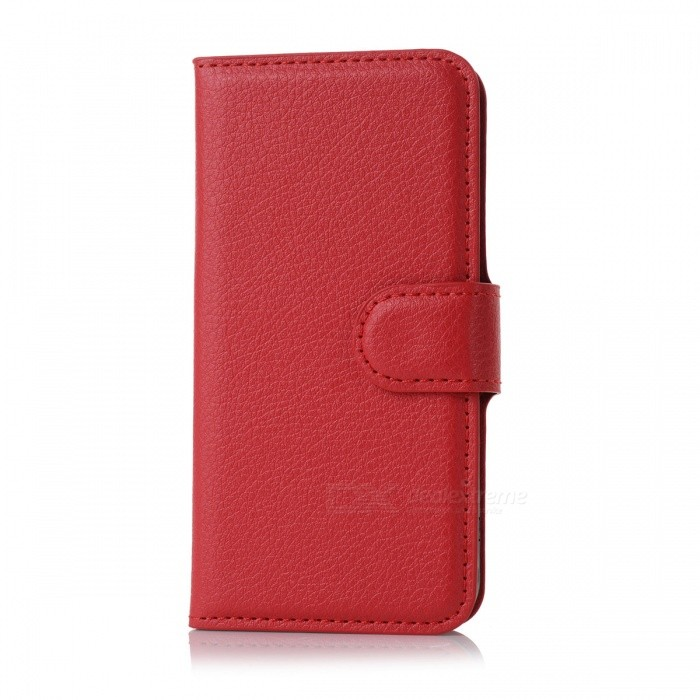 Lichee Pattern Protective PU Leather Flip-open Case for Iphone 5C - Red