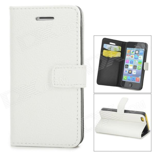 Lichee Pattern Protective PU Leather Case for Iphone 5C - White stylish protective pu leather case for iphone 5c white transparent black