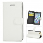Lichee Pattern Protective PU Leather Case for Iphone 5C - White
