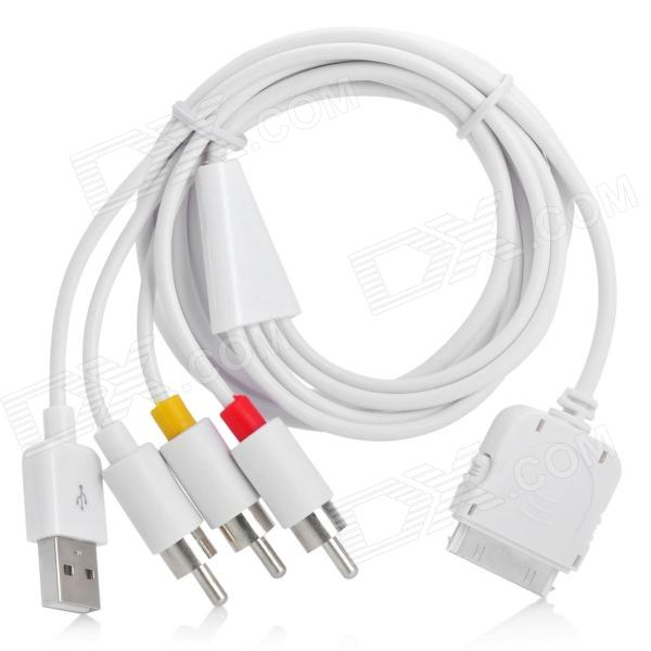 Premium USB Data Charging AV Cable for All iPod/iPhone/iPhone 3G (1.52M-Cable)